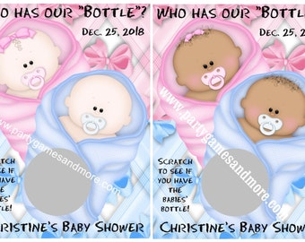 """Unique Personalized Twins Baby Shower """"Who has our bottle?"""" Scratch Off Lotto Game Cards"""