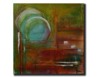 """Turquoise Amber Abstract Painting 20x20 """"Amber Glow"""""""