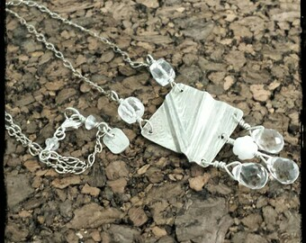 Sterling silver and quartz fold formed necklace
