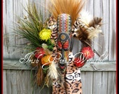 XXL African Tribal Wreath, Africa Inspired Wall Hanging, Warrior, Tribal Mask, tili bar, Extra large, feathers, Leopard, Zulu