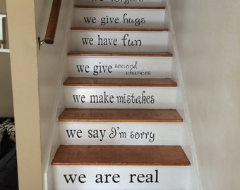Stairs Decal - Vinyl Decal for Staircase - Custom Color - In This House Vinyl - Home Removable Decor - Stairway Quote