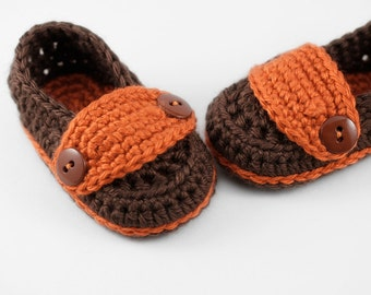 Crochet Buttons Loafers // Brown & Orange // 3 to 6 Months // Baby Shoes