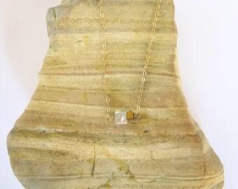 Delicate Rose Quartz Cube and Hematite Gold Necklace