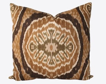 Decorative Designer Duralee, Tan, Brown, Ikat, Batik, Suzani, 18x18, 20x20, 22x22 Throw Pillow