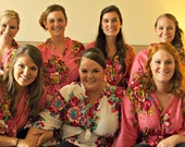 Set of 7 Bridesmaids Robes - Kimono Crossover Robe, bridemaids Gift for Bridal shower party, wedding favors