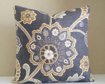 Gray Pillow Cover - Charcoal Gray Floral Pillow - Pick Your Pillow Size - 16 inch, 18 inch, 20 x 20, 24x24,  26 x 26
