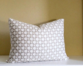 Reversible Schumacher Betwixt - Stone/White -  Designer Pillow Cover -12x20 Lumbar Pillow Cover - Knife edge -