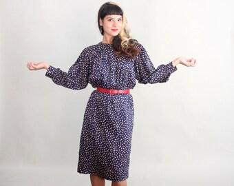 Vintage Anna Sui Black Dress 1980's s Silk BUTTERFLY Print