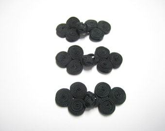 Chinese knot button closures - 3 pairs small black fancy Chinese buttons, knot ties, black decorative closures for clothing, accessories