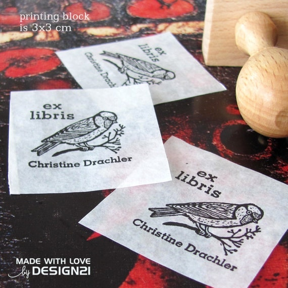 Goldfinch: personalised rubber stamp (3x3 cm)