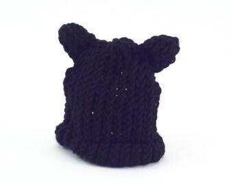 Knit black cat hat