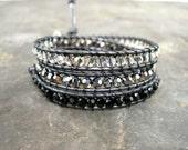 Leather Wrap Swarovski Crystal Bracelet Black Ombre