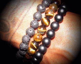 Mens Motivation Beaded Bracelet Tiger Eye Onyx Lava