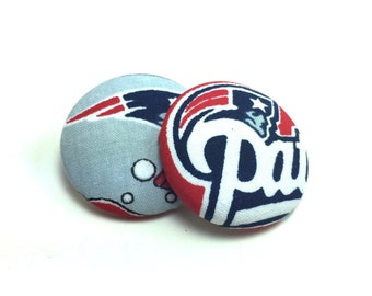Oversized New England Patriots  Print Button Earrings
