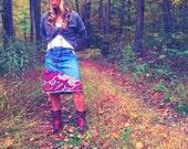 Womens Boho Chic Jean Skirt