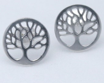 Tree of Life Earrings, 925 Sterling silver Studs, Yggdrasil, Viking Celtic symbol, Norse mythology *Divine Tree of the Cosmos, Birth gift