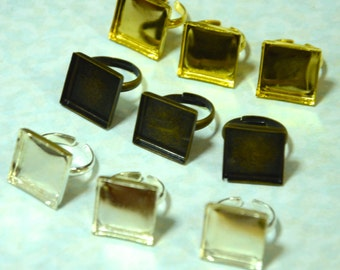 SALE 20 pcs Square Bezel Ring Findings (Silver,  Bronze, or Gold Plated)