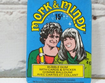 Vintage Mork and Mindy Trading Cards. New In Package.Robin Williams and Pam Dawber. Sitcom Comedy Magic. Great TV Shows. 1970's Collectible.