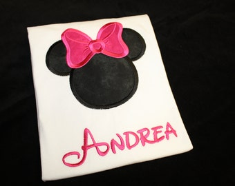 Personalized Embroidered Minnie Mouse Shirt in White