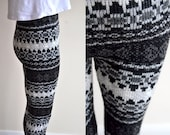 Super THERMAL thick winter Christmas Scandinavian Nordic knitted leggings with snow flake Christmas pants tights