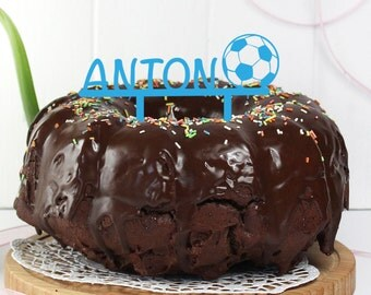 Cake topper with name and football for birthday