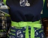 Cute - Fun - Flirty Seahawks Apron - Plus Sizes - Steelers - Broncos - Patriots - 49ers - Green Bay - Kansas - Bears - More - Gift Idea!