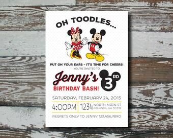 Mickey/Minnie Birthday Invitation - Printable