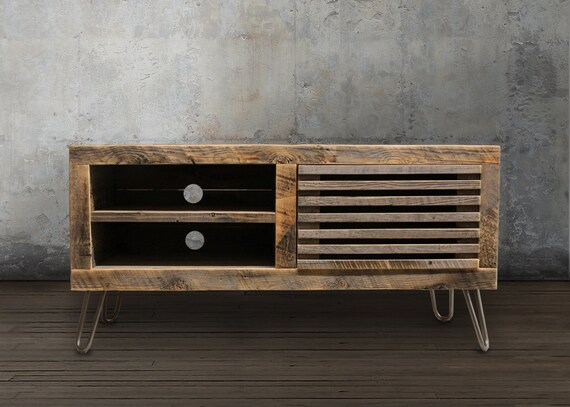 Reclaimed wood media console tv stand