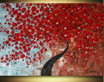 Original Red  Tree Modern Handpainted Acrylic  Impasto textured  Red  Tree Painting.Made2Order.
