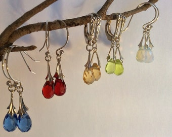 Faceted Teardrop Crystal Briolette Earrings with Sterling Silver Bales - Pick Your Color!
