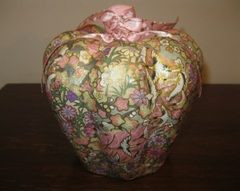 Cherry Blossoms and Swans Chiyogami Paper Decoupage Paper Mache Pumpkin