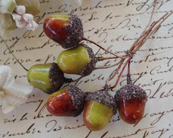 6 Vintage German Millinery Fruit Acorns Lacquered Spun Cotton Glittered Millinery Flower Stamens Pips Antique Christmas Hat Cloche Hat Trim