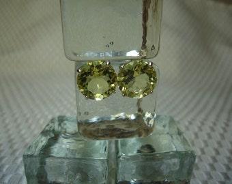 Round Lemon Quartz Earrings in Sterling Silver
