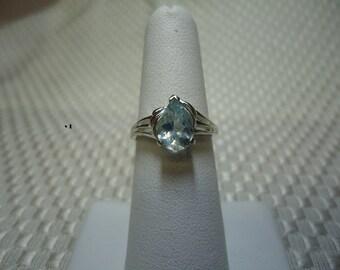 Pear Cut Aquamarine Ring in Sterling Silver   #1395