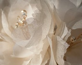Magnolia Sash #317 Blush and ivory silk organza hair flowers with crystal stamens on comb