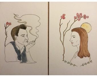 Johnny Cash / June Carter watercolor & ink original prints