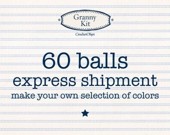 Choose your 60 balls Granny Kit cotton + Express shipping, ready to ship by CrochetObjet