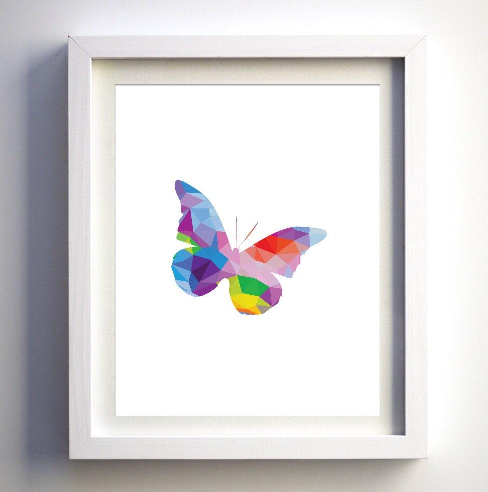Butterfly themed girls nursery wall art rainbow wall art for Rainbow themed baby nursery