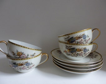 Noritake Datonia - Set of 4 Tea Cups and Saucers
