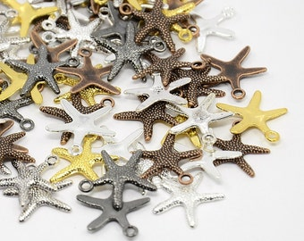 Starfish Charms Starfish Pendants Assorted Charms Set Silver Bronze Copper Gold Starfish Charms Bulk Charms Wholesale Nautical Charms 50pcs