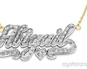 Personalized 1/4 Carat Diamond Nameplate Necklace 14K Yellow Gold or White Gold with Chain