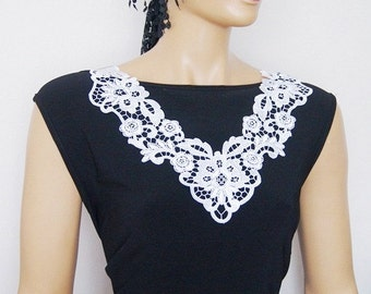 FREE SHIPPING Lux Special White Lace Applique Collar, Bridesmaid Accessories, Woman Applique ,OOAK, Graduation accessories