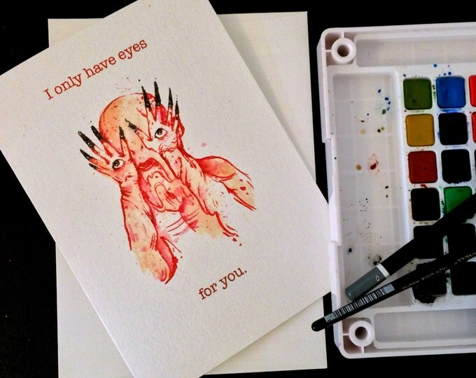 Pale Man 'I Only Have Eyes for You' Pan's Labyrinth Valentine's Day Card Blank Card / 5x7 inch watercolor print nerd geek girl guy dork