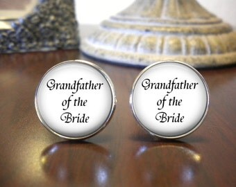 Grandfather of the Bride Cufflinks - Grandfather of the Bride Gift - Wedding Cufflinks - Personalized Cufflinks