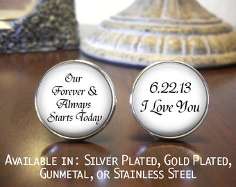 SALE! Groom Cufflinks - Personalized Cufflinks - Gift for Groom - Our Forever & Always Starts Today