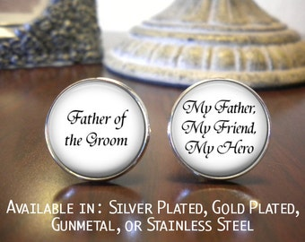 SALE! Father of the Groom Cufflinks - Wedding Jewelry - Personalized Cufflinks - Father of the Groom Gift