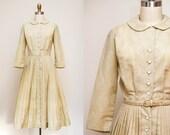 Vintage 1950s L'Aiglon Ecru Shirt Waist Dress / Long Sleeves / Accordion Pleated Full Skirt / Medium