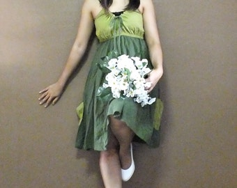 Mini Dress Green.. Cotton/Party Dress/Evening Dress/Prom Dress/Maxi Dress (Free Shipping)