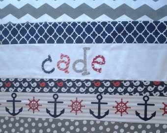 Personalized Nautical Baby Quilt, Red, Navy and Gray Nautical Nursery Bedding, Personalized Baby Quilt, Custom Baby Quilt