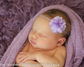 Lavender Baby Headband, Baby Headband, Infant Headband, Toddler Headband, Mini Puff Headband on skinny elastic
